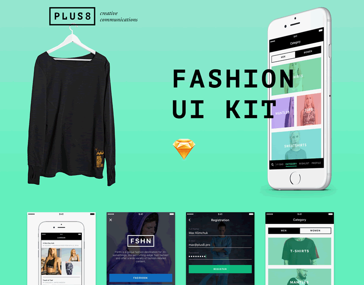 Mobile Fashion & eCommerce UI Kit 20 Screens Sketch Format Max Klimchuk