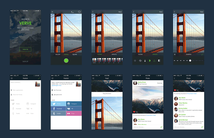 Verve Mobile UI Kit 15 Screens PSD Format Oleg Bolshakov