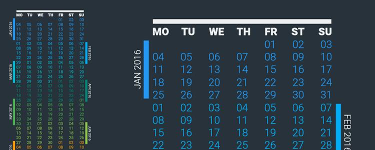 Vector 2016 Continuous Calendar