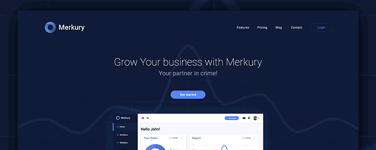 Photoshop PSD Free Merkury Web Template