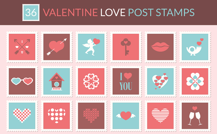 Valentine Love Postage Stamp Icon Set