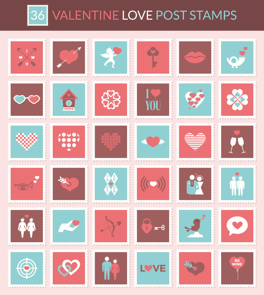 Free Valentine Love Postage Stamp Icon Set psd ai eps svg png