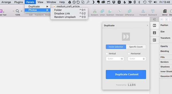 InVision Labs Inspector Panel Craft sketch.app