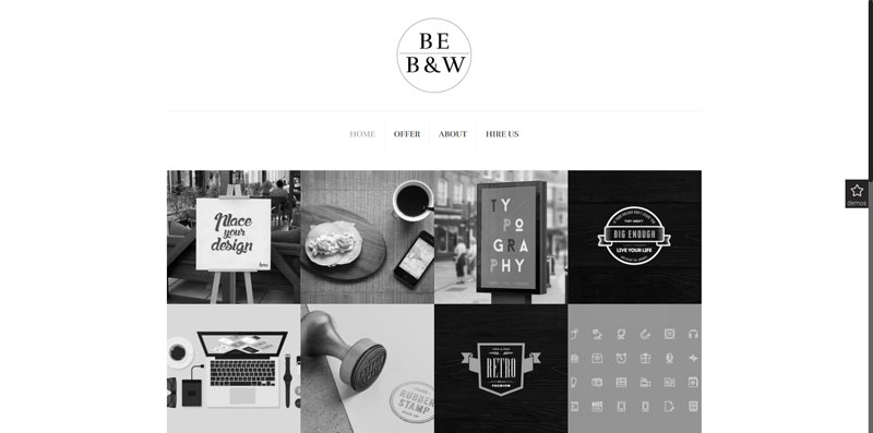 Be Theme B&W Pre-made portfolio