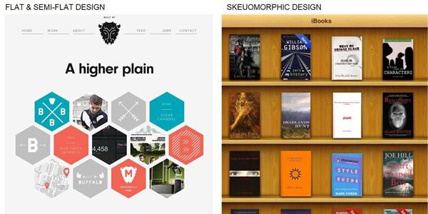 example flat design versus skeuomorphism