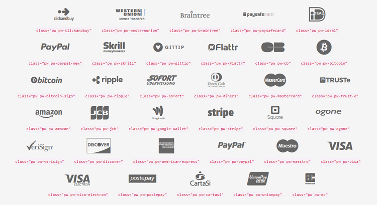 Payment Webfont icon font glyph free