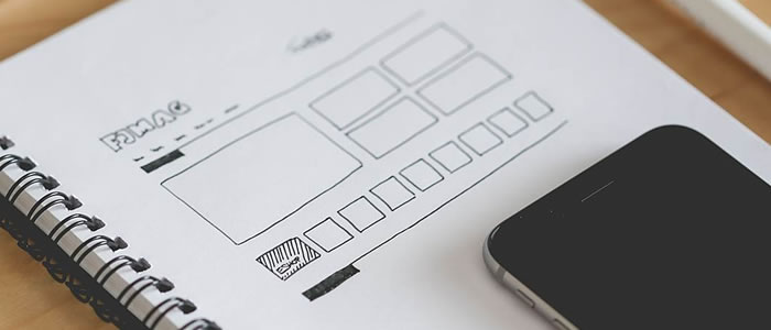 grid layout web design sketch paper