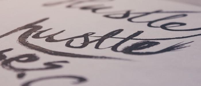 handwritten script font example paper