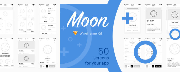 Moon Wireframe Kit 50 Screens Sketch