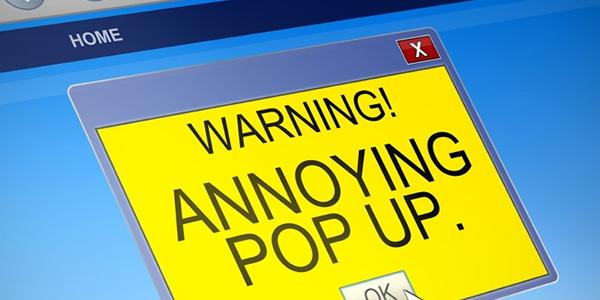 pop up ad annoying warning