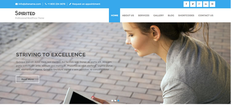 Spirited free wordpress theme business small corporate