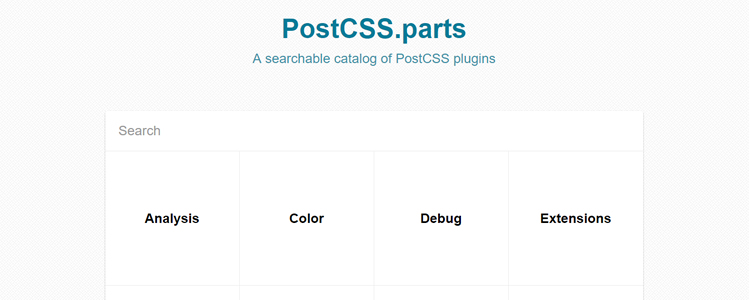 PostCSS.parts searchable catalog of PostCSS plugins