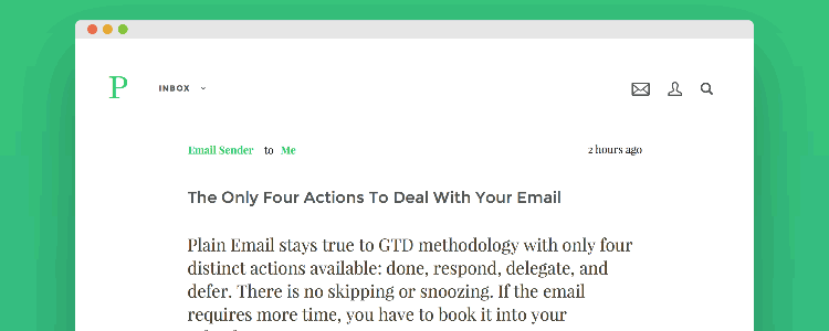 Plain Email app concept one-touch email processing