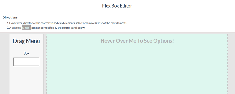 Flexbox Editor web-based generating layouts