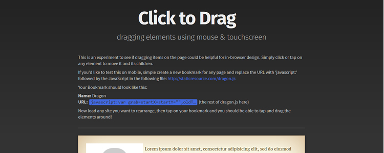 Dragon.js bookmarklet drag any web element