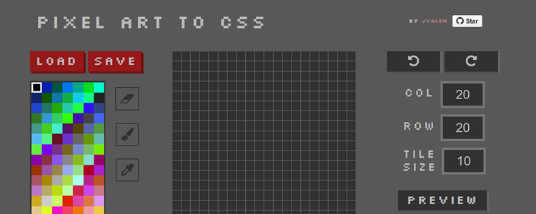 Pixel Art CSS ReactJS-powered drawing web-based application