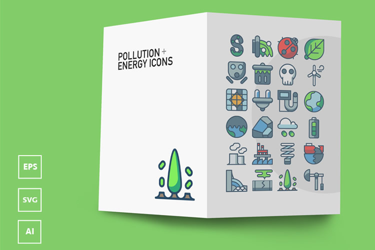 Freebie Pollution Energy Icons AI EPS SVG