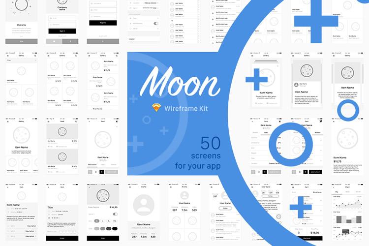 Freebie Moon Wireframe Kit Sketch