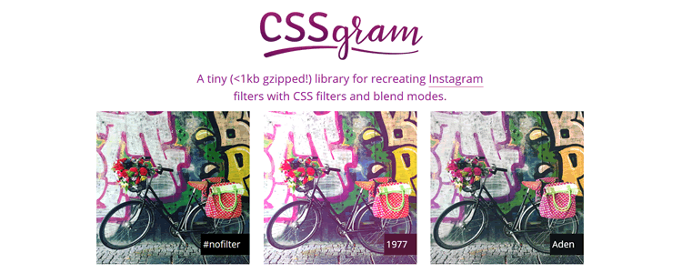CSSGram library CSS CSS3 image filter toolbox