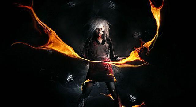 Dark Super Natural Magic Figure Fire Element
