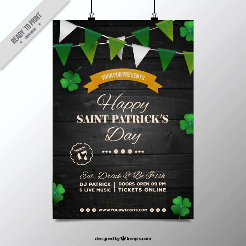 saint patrick free flyer invitation poster template ai eps illustrator freebie - Free Poster Templates