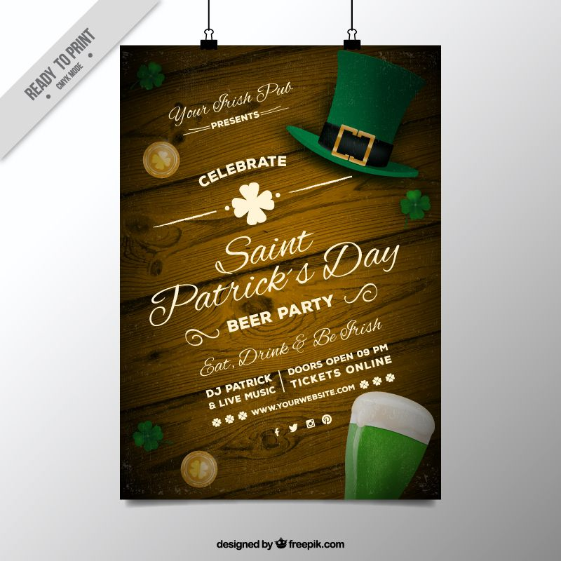 saint patrick free flyer invitation poster template ai eps illustrator freebie