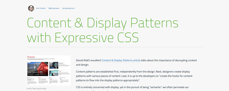 Content and Display Patterns with Expressive CSS