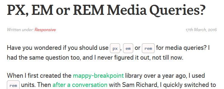 PX EM REM Media Queries?