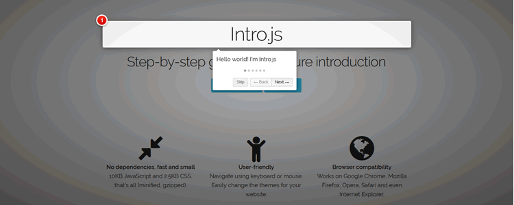 Intro.js Step-by-step guide and feature introduction for your website