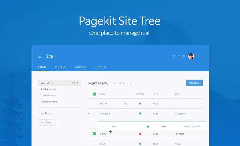 Pagekit 1 0 A Material Design Modern Lightweight Cms