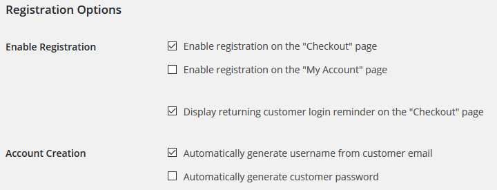 WooCommerce - Account and Checkout Registration Settings