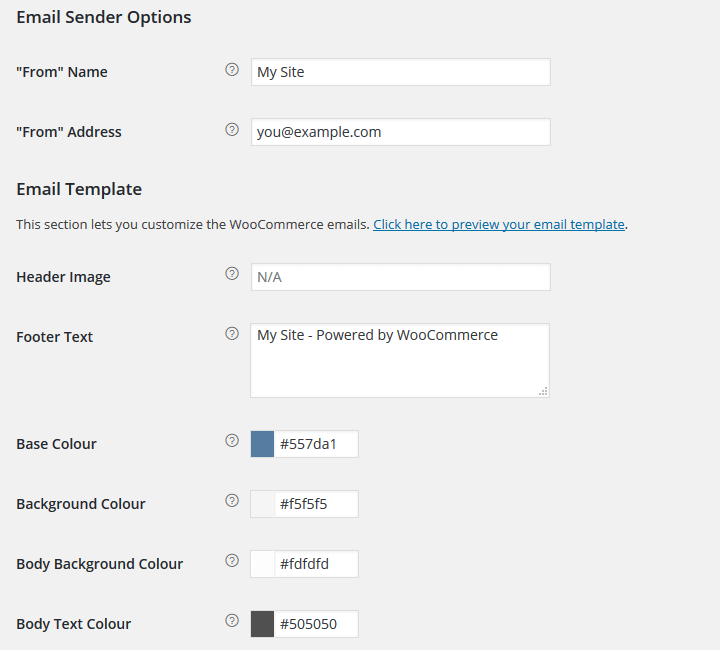 WooCommerce - Email Sender and Template Options