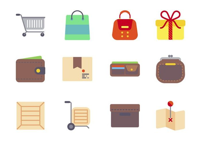 The Free Flat eCommerce Icon Set in PNG & SVG Formats