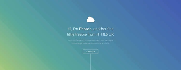 Photon one page resume parallax effect buttons hover html5 template website responsive