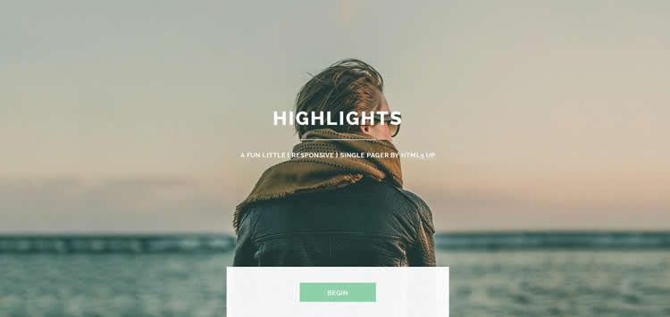 Highlights CV full-screen slider portfolio html5 template website responsive