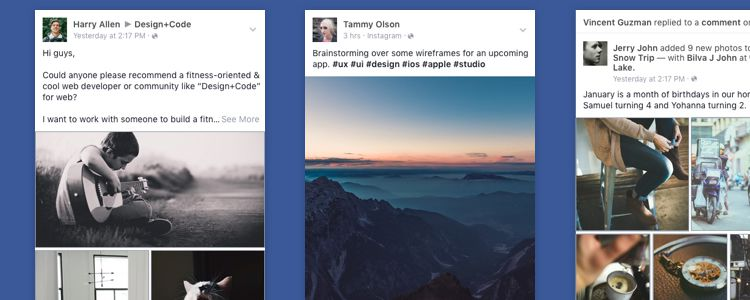 Facebook iOS App News Feed UI Sketch