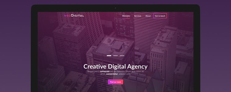 NeoDigital One-Page Web Template Photoshop