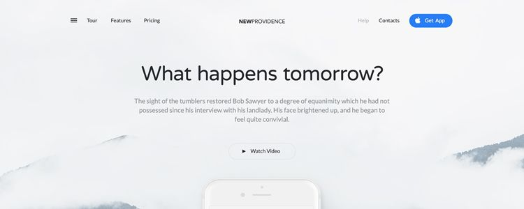 New Providence Mobile App Landing Page Template Photoshop