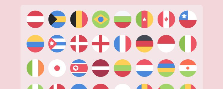 Flat Rounded Flags Icon Set PSD