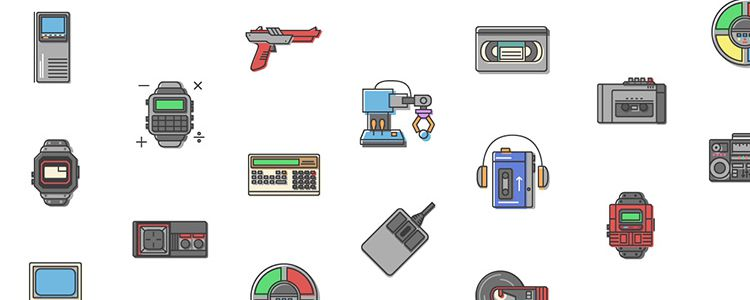80s Gadgets Icon Set AI SVG PNG