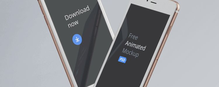 free template psd Animated Mobile Mockups Photoshop
