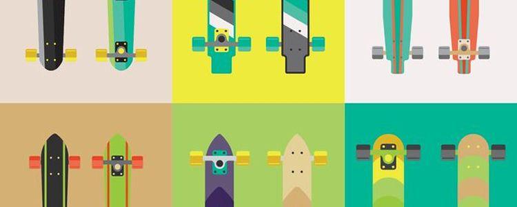 Free Longboard Skateboard Vectors AI