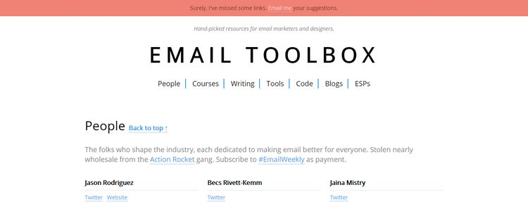 Email Toolbox - An extensive collection of useful resources