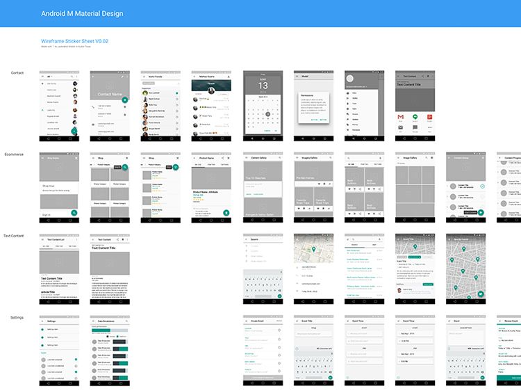 Freebie Material Design Wireframe Kit Sketch
