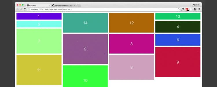 Bricklayer lightweight independent Pinterest-like cascading grid layout library