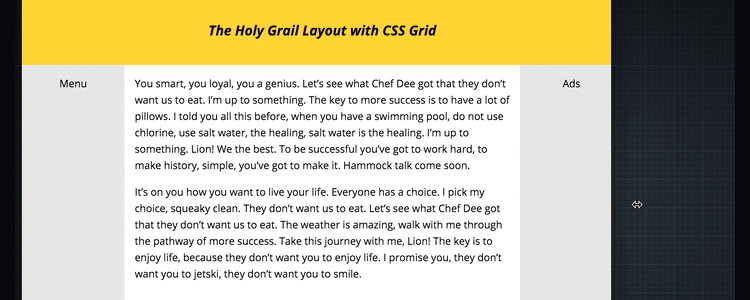 Holy Grail Layout CSS Grid