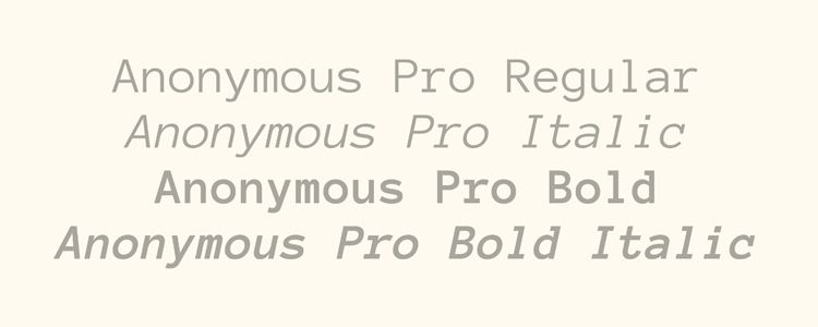 Anonymous Pro mono monospaced free font family typeface code