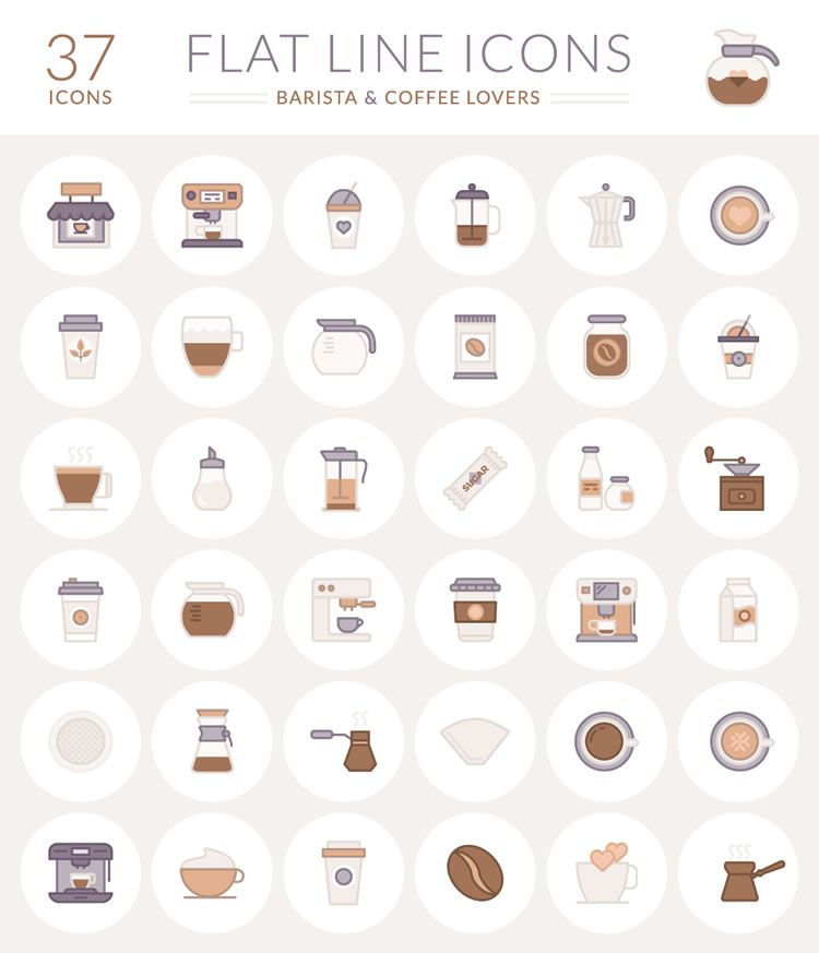 barista coffee lovers flat line icons preview free