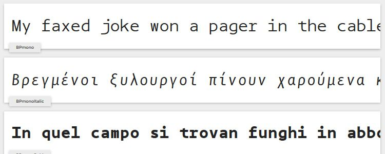 BP mono monospaced free font family typeface code