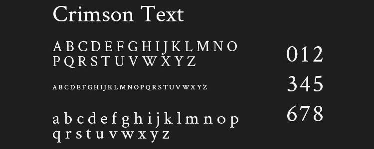 Crimson Text serif free font family typeface